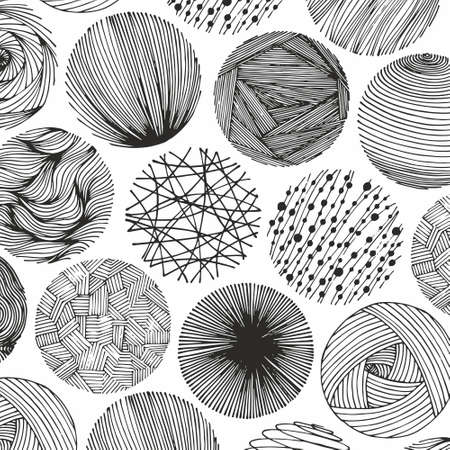 Vector abstract pattern with circles. Hand drawing.