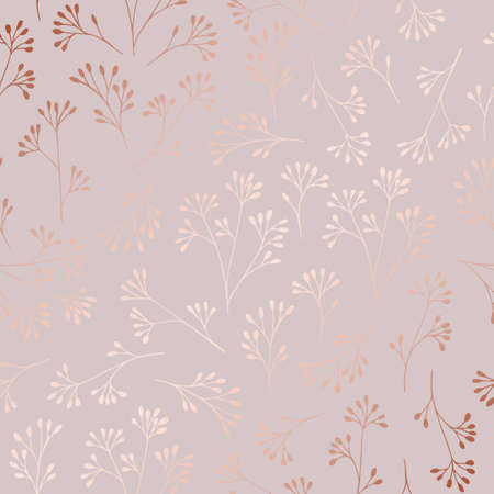 Rose gold. Elegant decorative floral pattern for printing, sales, design of postcards, packaging, covers, cases and other surfaces