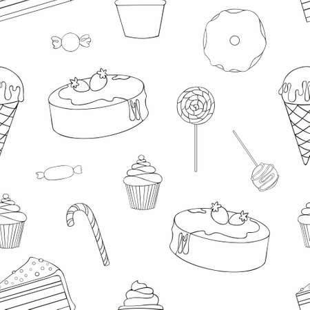 Sweets. Contour drawing. Vector seamless pattern for design packing, fabric, wrapping paper, catalogs, menus, covers, kitchen surfaces and tools