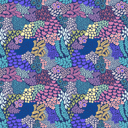 Colorful floral seamless pattern. Vector background for design of textiles, wallpapers, wraps, covers, printing and surface design