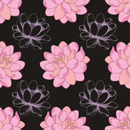 Pink flowers on a black background in combination with a hand drawing. Vector seamless pattern for design of textile, wallpaper, cover, background and packaging 向量圖像