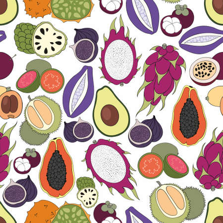 Exotic fruits. Vector seamless pattern for design and decoration of fabric, home textile, packaging, surfaces, kitchen tools and wallpaper Illustration