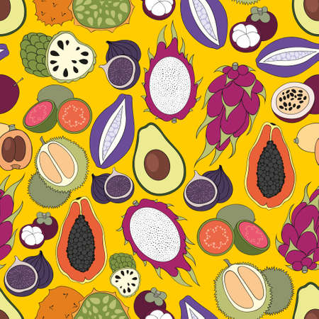 Exotic fruits. Vector seamless pattern for design and decoration of fabric, home textile, packaging, surfaces, kitchen tools and wallpaper 向量圖像