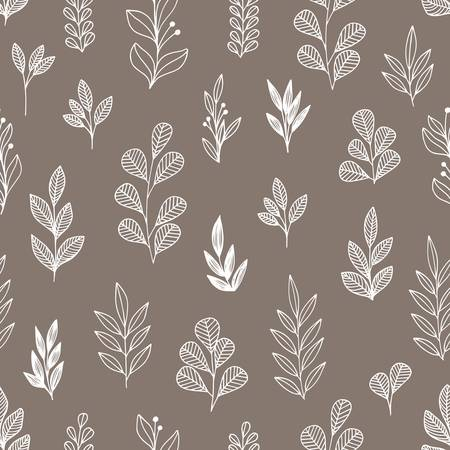 Stylized flowers and branches. Vector linear seamless pattern for design of covers, textiles, wallpapers and other surfaces