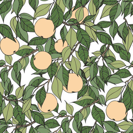 Apple tree. Hand drawing with apple tree branches. Seamless decorative pattern for the design of textiles, wallpapers, covers, packaging and wrapping paper
