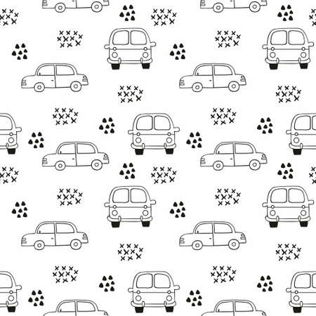 Children's seamless pattern with cars. Vector outline pattern for the design of children's clothing, wallpaper, room decoration, home textiles, packaging, wrapping paper, covers Foto de archivo - 123231256