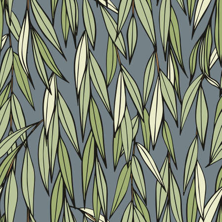 Weeping willow. Hand drawing. Seamless decorative pattern for the design of home textiles, curtains, wallpapers, covers, packaging and wrapping paper 版權商用圖片 - 123231268