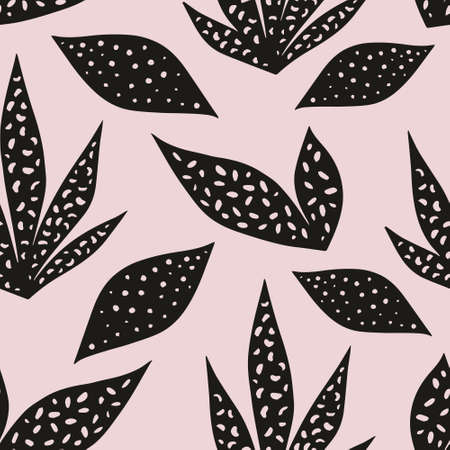 Vector seamless pattern with stylized leaves on a pink background. Hand drawing. Decorative pattern for design and decoration of textiles, clothing, curtains, packaging and wrapping paper
