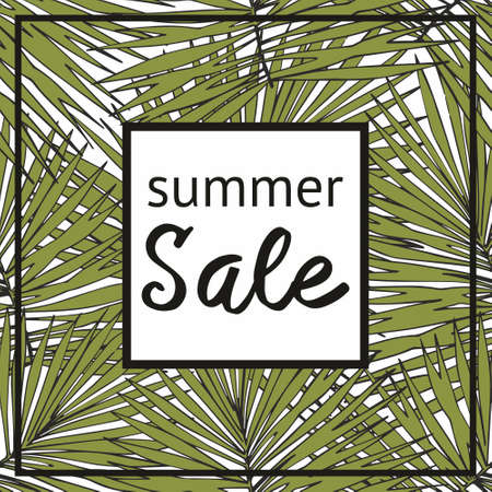 Summer sale with decorative tropical pattern. Decorative print, banner, billboard and more