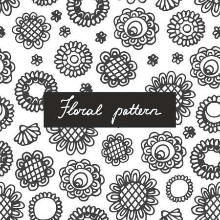 Seamless pattern with small plants and flowers. Hand drawing. Linear pattern for the design of surfaces, textiles, curtains, wallpaper, packaging and wrapping paper, covers and other