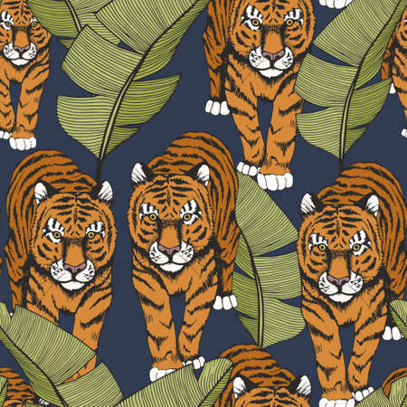 Tiger in tropical leaves. Hand drawing. Seamless pattern with tiger and banana leaves