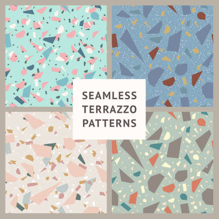 Terrazzo. Set of vector seamless patterns for surface design.