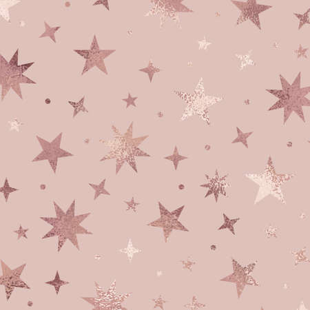 Stars. Rose gold. Elegant vector texture with metallic effect.