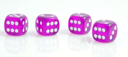 four purple dice showing number six on white Stock Photo - 16134295