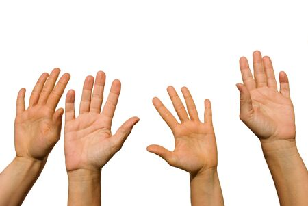 four hands of different age hold up in the air on white Stock Photo - 16134302