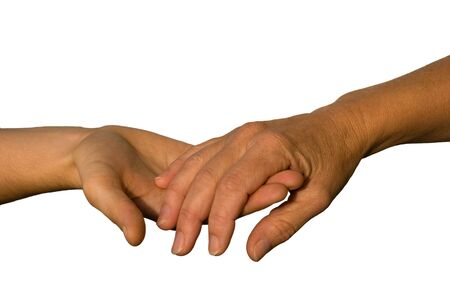 lean on hands: and younger hand supports an older one