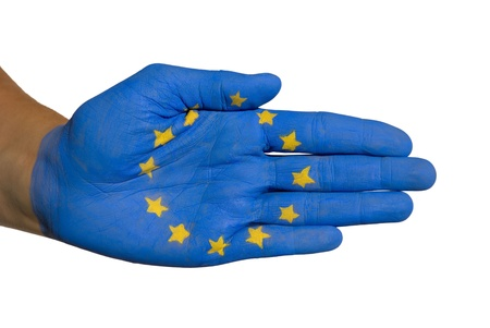 european flag on a hand, on white Stock Photo - 16236096