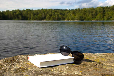 book and sunglasses lying on a stone in front of the sea symbolizing recreation Stock Photo - 16236107