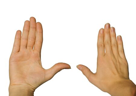 two hands, one from the backside and one from the front, on white Stock Photo - 16476591