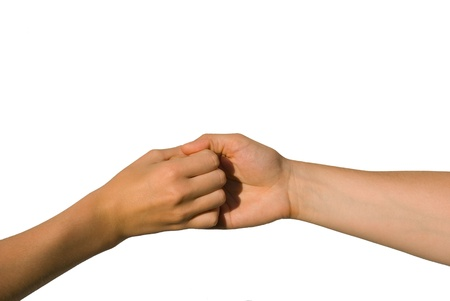 parship: two young hands hold one another, isolated on white, aymbolizing team and strength