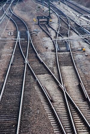 signaling: many railway tracks leading to different ways Stock Photo