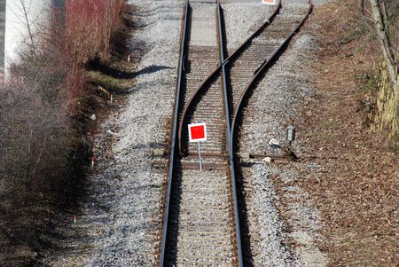 co2 neutral: railway tracks with the train signal switch Stock Photo