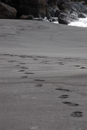reclusion: fottprint tracks in black sand as a black beach at the ocean
