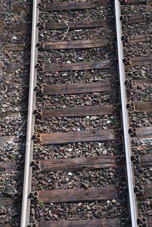 co2 neutral: single railway tracks which lead straight ahead