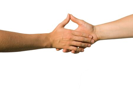 parship: a handshake between two yound hands with thumbs up Stock Photo
