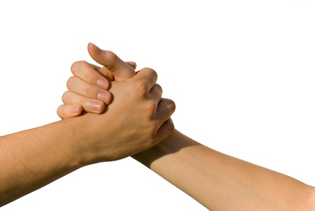 parship: a handshake between two young people, on white