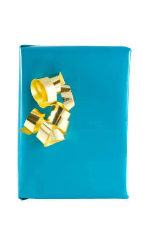 a blue present or gift with gold ornamentation Stock Photo