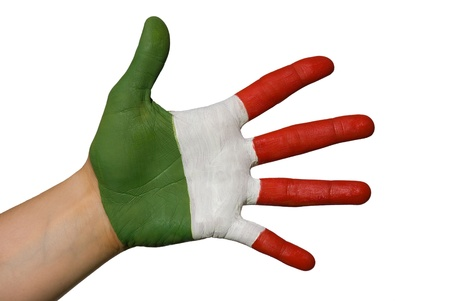 a painted hand with three different colors photo