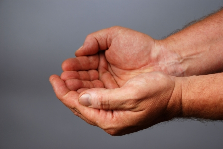 bilding: two male hands bilding a gesture of emptyness, copy space Stock Photo