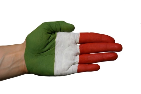 a hand painted in the colors of the italian flag or just a three colores painted hand photo