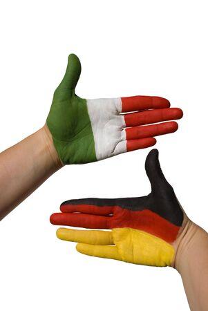treaties: a german and a german hand, symbolizing partnership