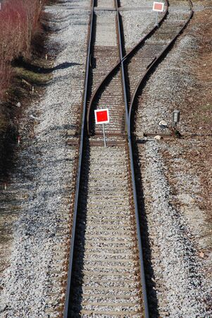 co2 neutral: a train switch and a red train switch signal Stock Photo