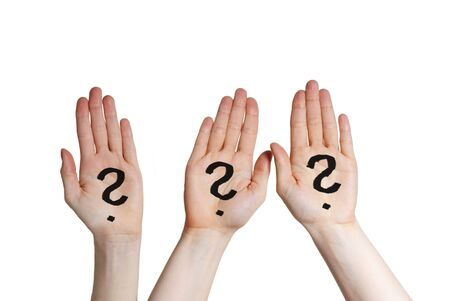 three hands with question marks on it, isolated Stock Photo