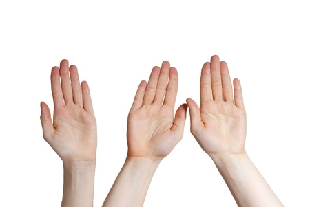 three hands holding up, isolated Stock Photo - 18104076