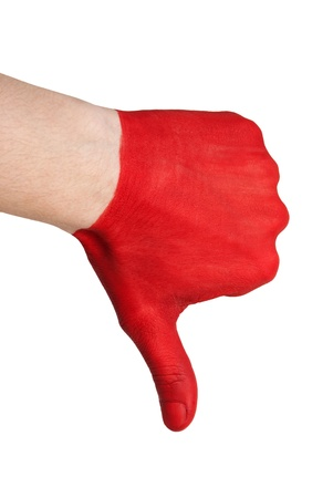 endangerment: a red painted hand showing thumbs down, symbolizing negative, risk and danger