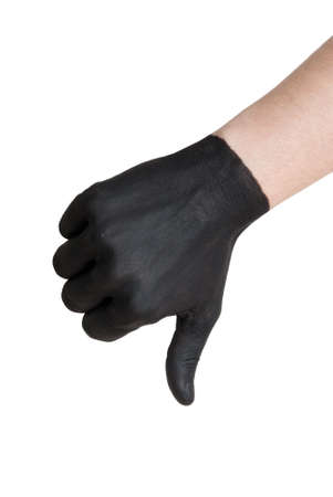 endangerment: a black painted hand showing a thumb down gesture, isolated