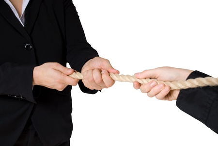 tug of war between business people, isolated photo