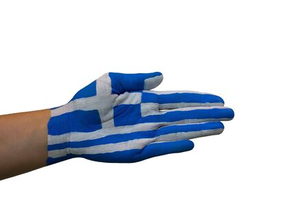 politically: the greek colors painted on a hand, isolated