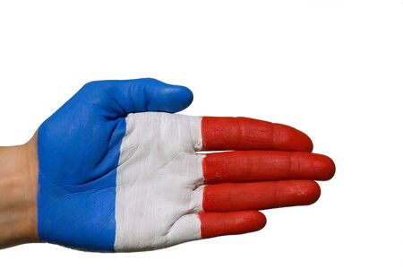 treaties: a painted hand symbolizing france or joy and fun, isolated