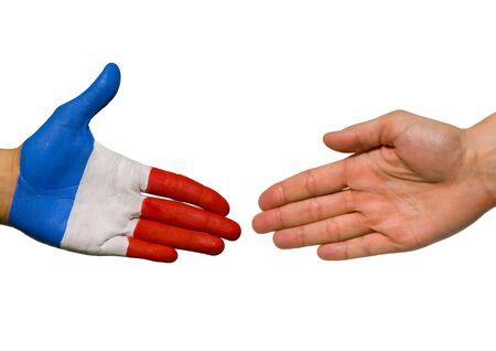 tratados: una mano de franc�s y una mano con copyspace, aislado Foto de archivo