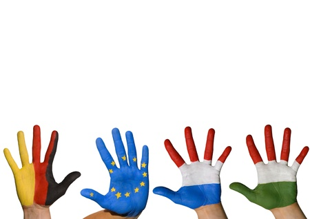 four hands waving symbolizing europe, isolated photo