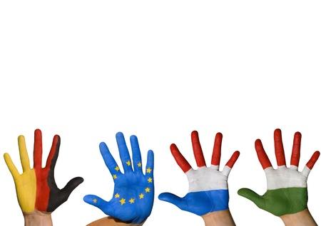 treaties: four hands waving symbolizing europe, isolated Stock Photo