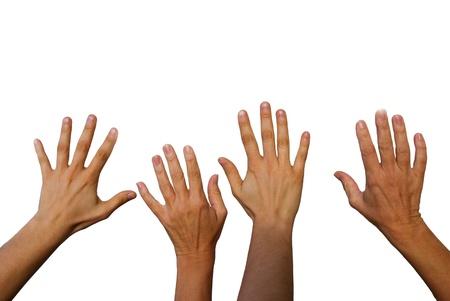 cuatro manos saludando, manos desde la parte de atrás, aislado