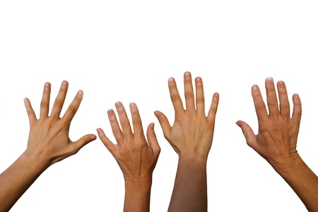 four hands: four hands waving, hands from the back side, isolated Stock Photo