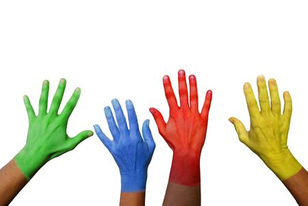 four colorful hands waving or deciding something, isolated photo