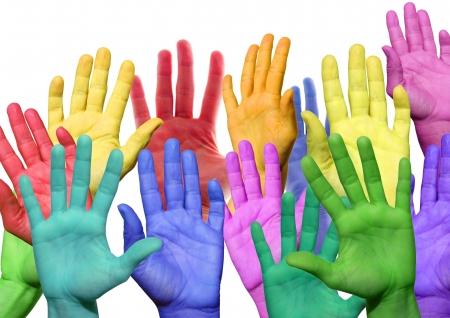 vele kleurrijke handen zwaaien en symbolicind diversiteit Stockfoto